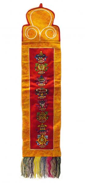 Traditional Tibetan Wallhanging with 8 embroidered Auspicious Buddhist Symbols- beautiful home decoration - Fairtrade