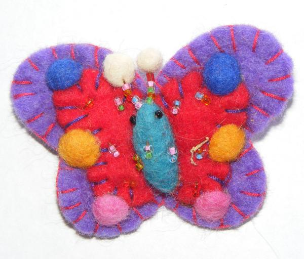 Hand Embellished Felt Butterfly Brooch - Fair Trade