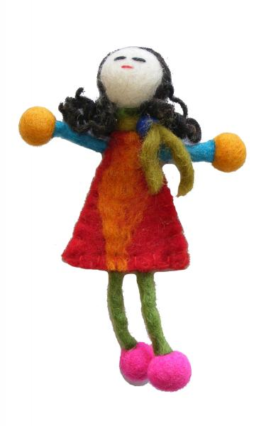 Hand made Felt Little Girl Brooch from Kathmandu - Fair Trade