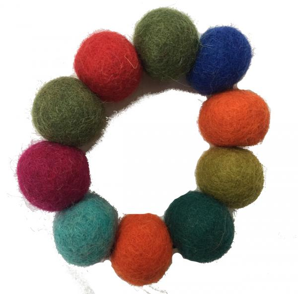 Hand Rolled Felt Rainbow Bobble Bracelet - Fair Trade