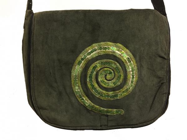 Hand Made Lovely Tactile Sequin Eternal Spiral Baby Cord Shoulder Bag - Fair Trade