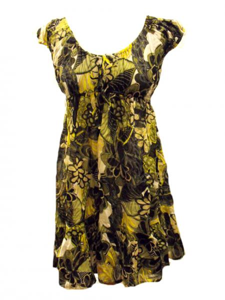 Green / Yellow  Bold Flower Print Floaty Indian Cotton Lizzy Maternity Blouse - Fair Trade