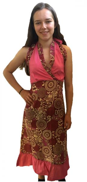 Feminine Pink Paisley Print Yvetta Summer Dress - Fair Trade 100% Cotton