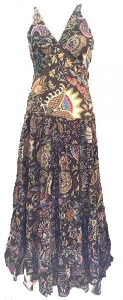 Bold Ethnic Print 100% Cotton Chocolate Brown Annabel Summer Maxi Dress - Fair Trade