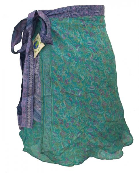 Fair Trade Short Sari Silk  Reversible Vintage Wrap Skirt - Blue / Green Design