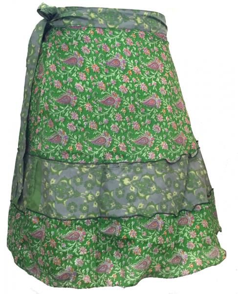 Fair Trade Short Sari Silk  Reversible Tiered Wrap Skirt - Shades of Green Design