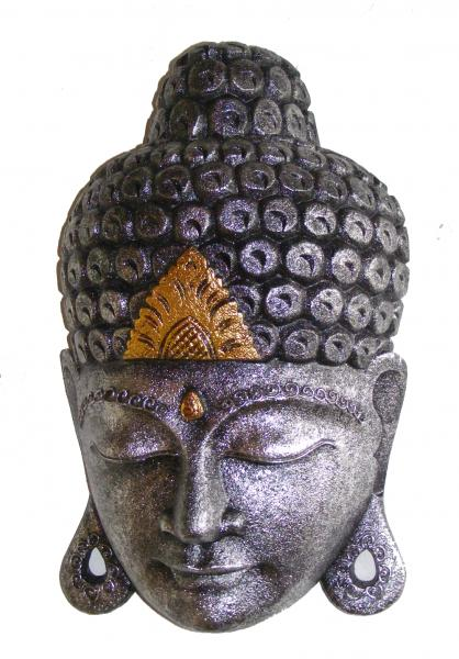 Hand Carved Large Gold and Silver Balinese Buddha Mask _ Fair Trade