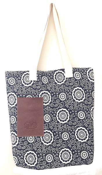 Vegan / Cruelty  Free Cotton Tote Bag / Shopping Bag - Black & White Abstract Floral Design - Fair Trade