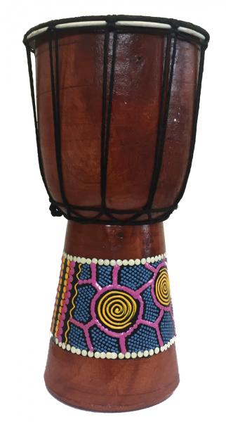 Authentic Dot Painted 15 cm high Hand Carved Djembe Drum - Fair Trade
