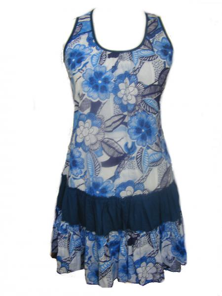 100% Floaty Cotton Short Bold Blue / White Flower Design Pippa Sundress / Short Shift Dress - Fair Trade