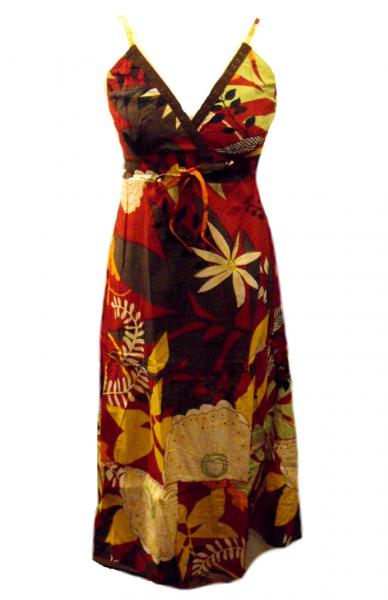Bold Floral Patterned Red Carmen Summer Maxi Dress - Fair Trade 100% Cotton