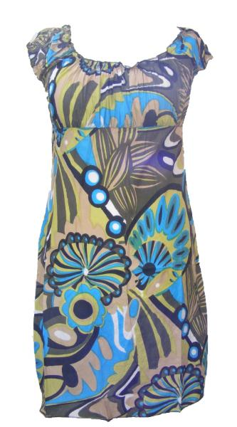 100% Soft Cotton Short Blue / Green Shelley Bold Patterned Summer Dress / Long Top - Fair Trade
