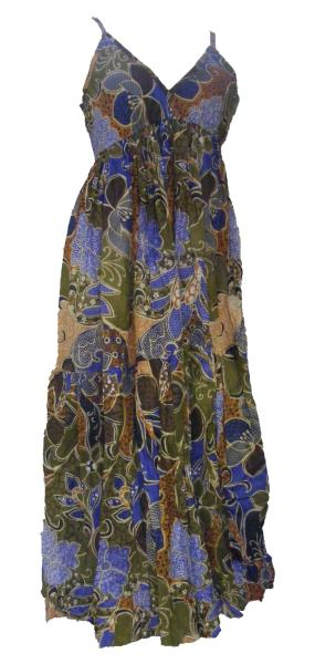 100% Soft Cotton Bold Bright Blue Flower Patterned Long Louisa Summer Maxi Dress  - Fair Trade